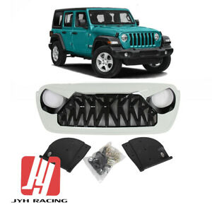 For 2018 2021 Jeep Wrangler Jl Jt Front Grille Shark Style Abs Gloss Black White