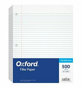 Oxford Filler Paper 8 1 2 X 11 College Rule 3 hole Punched Loose leaf Paper