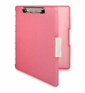 Dexas Slimcase 2 Storage Clipboard Side Opening Pink Glitter With White Binding