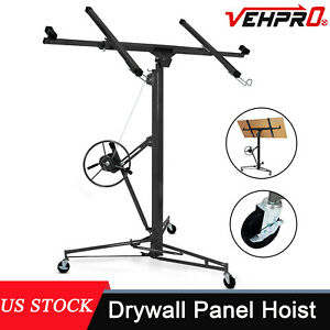 11ft Drywall Panel Hoist Dry Wall Rolling Caster Lifter Construction Tool Black