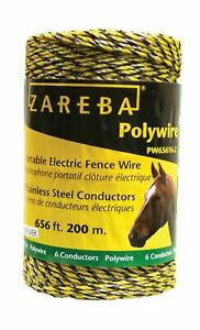 Zareba Polywire 656 6 Stainless steel Conductors Portable Electric fence Rope