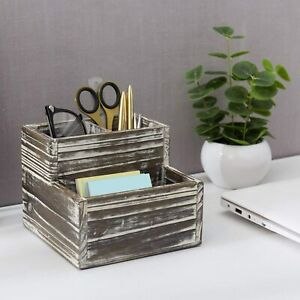 Rustic Torched Wood Decorative Desktop Office Stationary Supplies Organizer