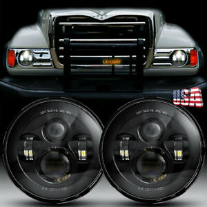 2pc Dot 7 Round Led Projector Headlight Hilo Beam For Freightliner Fl112 Truck