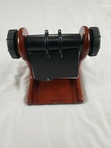 Rolodex Mahogany Wood Tone Rotary Business Card File Holder Wooden