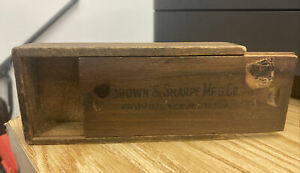 Vintage Brown Sharpe Mfg Providence Ri Usa Tool Box Only Antique Slide Top Old