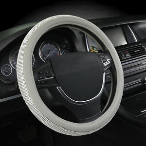 15 Car Bling Steering Wheel Cover Gray Pu Leather With Crystal Rhinestone