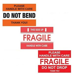 Do Not Drop Red Fragile This Side Up Do Not Bend Handle With Care Sticker