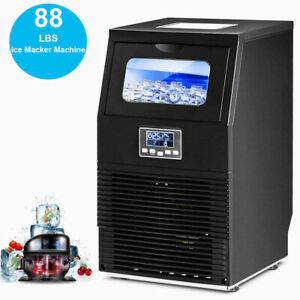 Commercial Ice Maker 88 Lbs Led Display Undercounter Shops Bar Ice Cube Machine