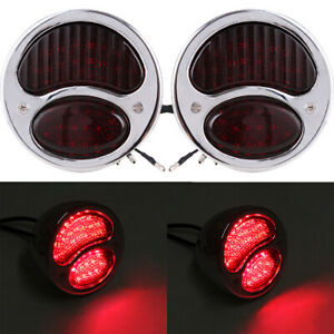 For Ford Model A Stainless Steel Taillights Lamps Pair Brake Light Hot Rat Truck Fits Desoto