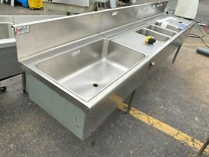 Sink Bar 102 3 Bowl With 2 Draining Tables And Ice Bin Insulated