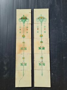 Set Of Antique Fireplace Tiles Early 1900s Corn Brothers