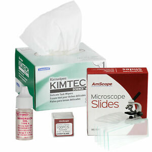 Amscope Microscope Kit Type A Immersion Oil Kimwipes 72 Slides 100 Coverslips