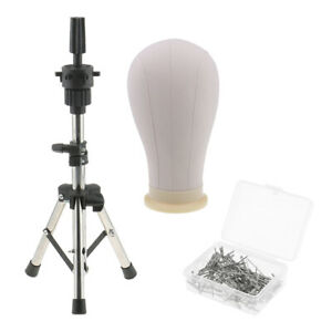 Cork Canvas Block Head Mannequin Head With Metal Adjustable Tripod Stand For