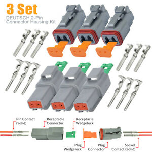 3kit Dt04 2p 2 pin Solid Contact Male female Connector Wedge Set Pins Seals
