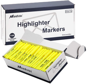 Yellow Highlighter Markers Chisel Tip Fluorescent Bulk Writing Supplies 144 Pack