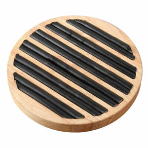 Wooden Round Flat Ring Display Tray For Store Commercial Use Black Leather