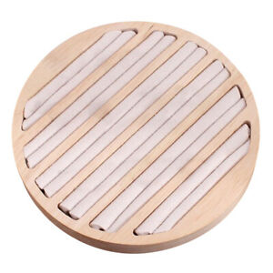 Wood Round Jewelry Ring Display Tray For Retail Commercial Use Beige Velvet