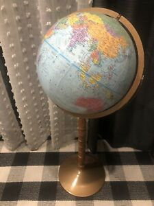 Vintage Replogle World Nation Series 12 Diameter Globe With Stand 32 Tall