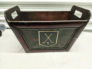 Vintage Golf Wooden Paper Tray Letter Holder File Box 15 x10 x9