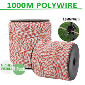 4pc 500m Electric Fence Polywire Trident White red 6 Strand Living Stock Fencing