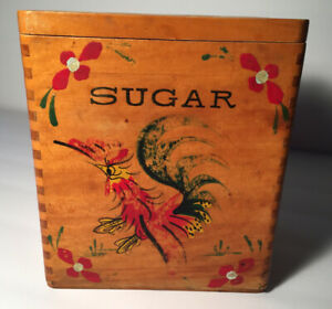 Vintage Primitive Wooden Sugar Box With Lid 7 Tall
