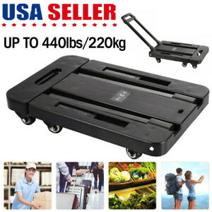 Folding Stainless Cart Hand Truck Dolly Push Collapsible Trolley Luggage 6wheels