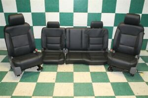 Recovered 14 18 Gm Truck Double Cab Black Leather Heat Power Seat Set Backseat