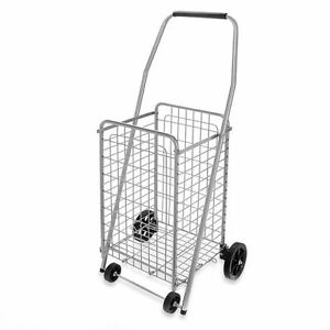 Pop N Shop Basket With Wheels And Handle Utility Folding Portable Shopping Cart