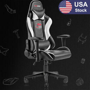 Racing Style Computer Gaming Chair Ergonomic Recliner Swivel Office Chair white