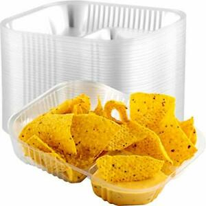 Large Anti spill Plastic Nacho Trays 50 Pack Disposable 2 Compartment Boats