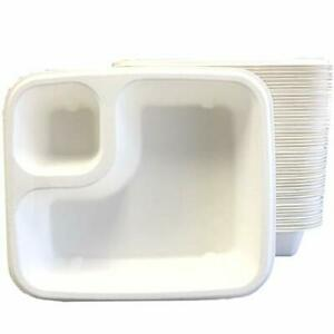 Compostable 2 Compartment Disposable Nacho Food Trays Sugarcane Bagasse B