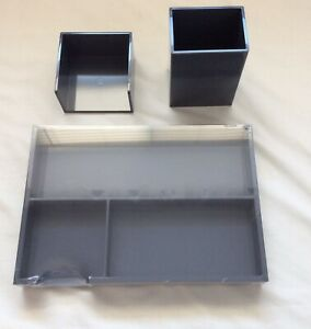 Desk Organizer Set With Antimicrobial Treatment Gray 3 Piece