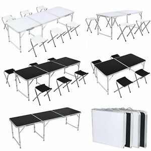 4 6ft Folding Table Adjustable Aluminum Portable Picnic Camp Bbq Table Chairs Us