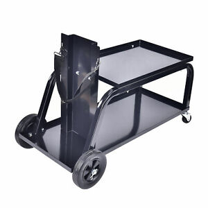 Heavy Duty Rolling Welding Cart With Wheels And Tank Storage For Tig Mig Welder