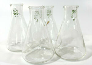 Lot Of 4 Vintage Pyrex 50ml Small Erlenmeyer Flask Laboratory Glass