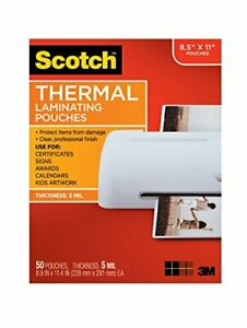 Scotch Thermal Laminating Pouches 5 Mil Thick For Extra Protection 8 9 X 11 4