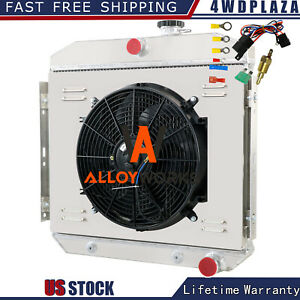 3 Row Radiator Shroud Fan Kits For 1955 1957 Chevy Bel Air 6 Cyl Core Supports