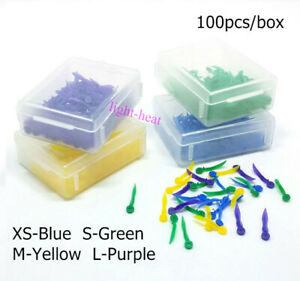 100pcs box Dental Disposable Plastic Wedges With End Circular Hole 4 Sizes Wedge