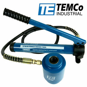 Temco Hydraulic Knockout Punch Driver Electrical Conduit Hole Ko Tool 3 4 16