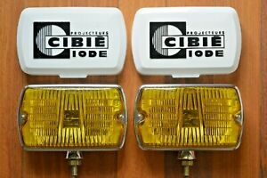 Vintage Nos Cibie 35 Yellow Fog Spot Lights With Covers Old Timers Euro Classics