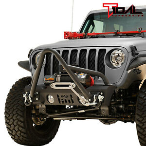 Tidal Stinger Front Stubby Bumper W Winch Plate Fit For 18 21 Jeep Jl Wrangler
