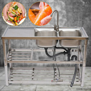 Commercial Kitchen Utility Sink Stainless Steel Double Bowl Drainer Restaurant