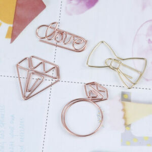 Cartoon Rose Gold Paper Clip Metal Bookmark Memo Clips School Office Suppliey ss