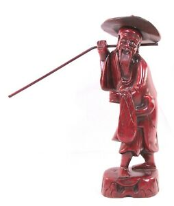 Vintage Asian Hand Carved Wood Old Man Fisherman Buddha 12 In Statue Figurine