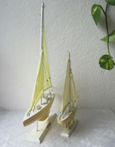 22 And 13 Tall 2 Vintage Wooden Sailing Boat Model With Sails Lot Of Two
