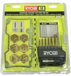Ryobi A96t131 Tap And Die 13 Piece Set Suitable For Metal Titanium Coated