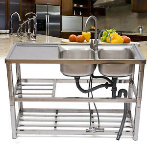 Stainless Steel Commercial Home Sink Bowl Kitchen Catering Sink 2 Compartment Us