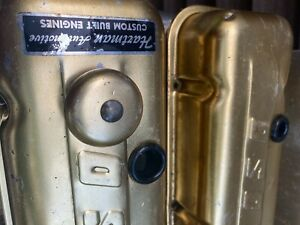 Vintage Rare Air Breather On Bbc Chevy Moroso Gold Anodized Valve Covers Dented