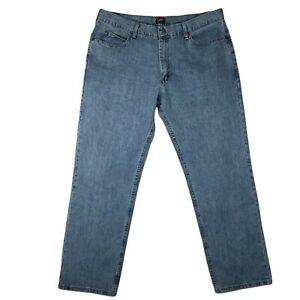 Lee Mens Relaxed Fit Denim Blue Jeans Casual Size 40 32 Cotton Work Heavy Casual $21.88
