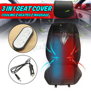 3 In 1 Car Seat Cover Cushion Massage Cooling Heated Heating Pad Mat Pu Leather